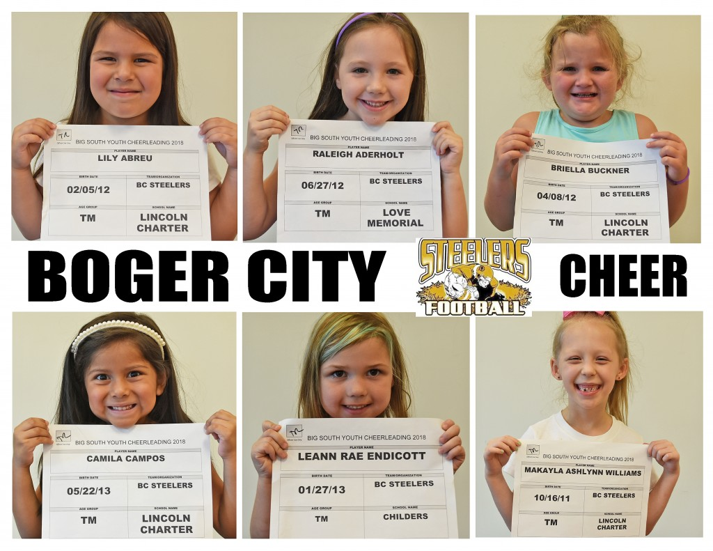 Boger City Steelers Cheer Roster page 1