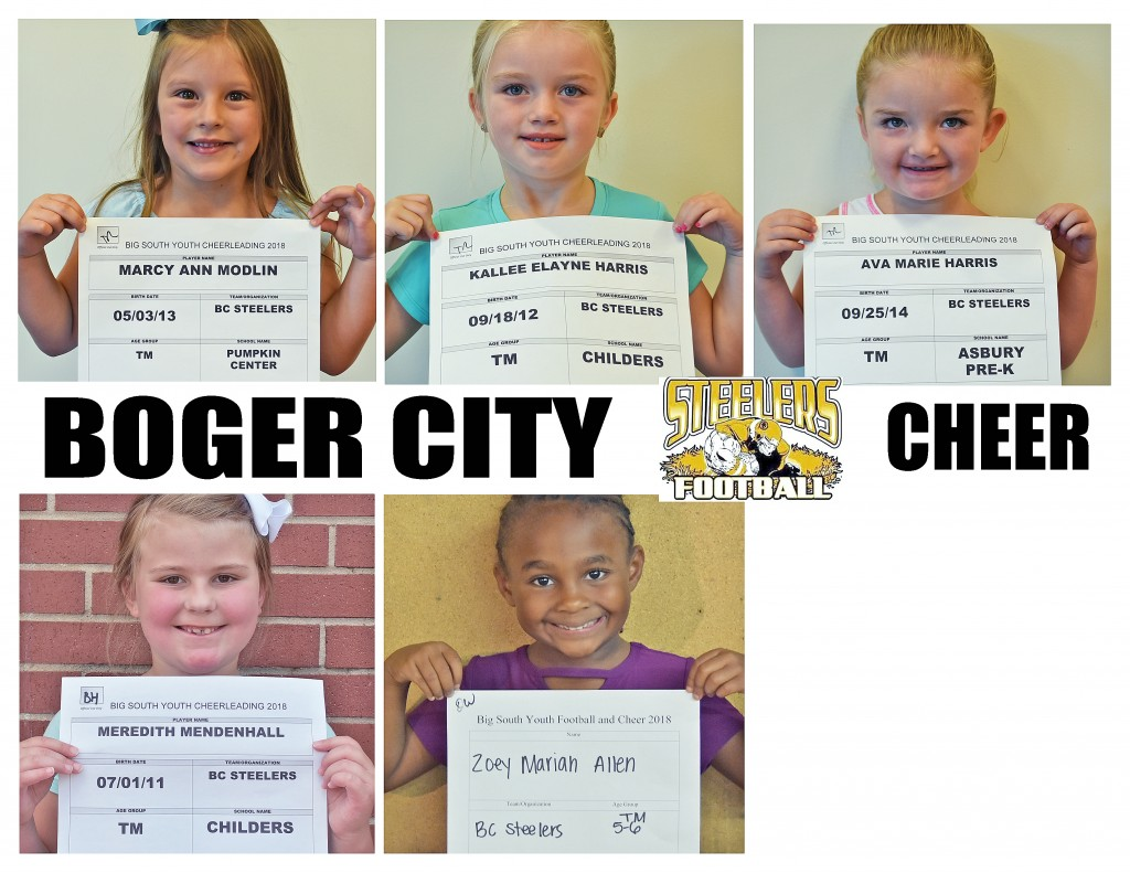 Boger City Steelers Cheer Roster page 2