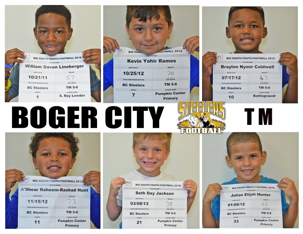 Boger City Steelers TM Roster page 1 replacement
