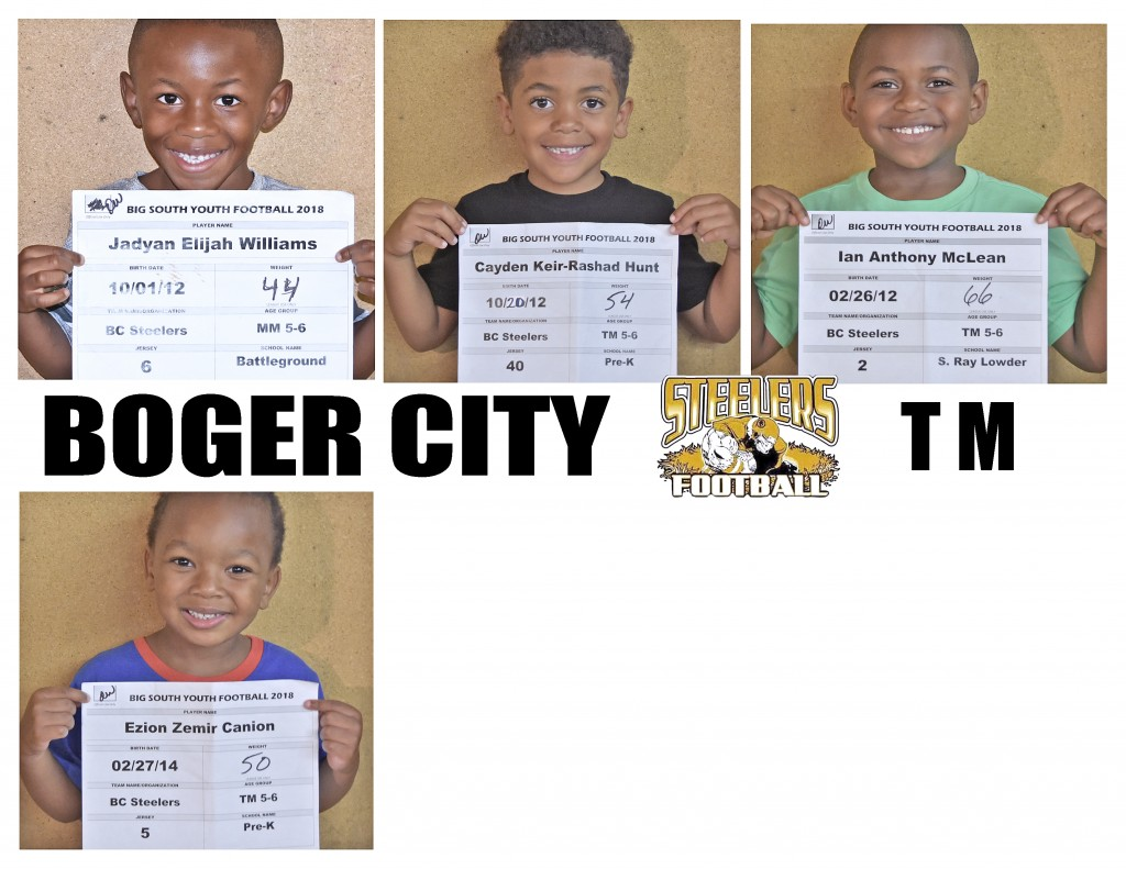 Boger City Steelers TM Roster page 3