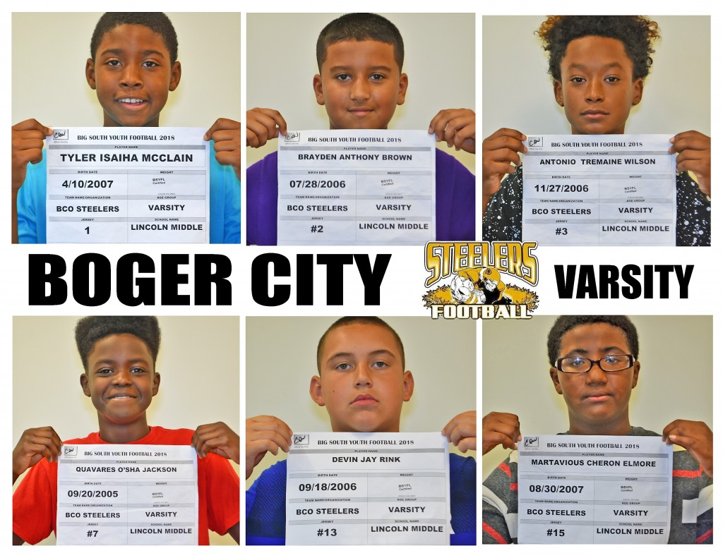 Boger City Steelers Varsity Roster page 1