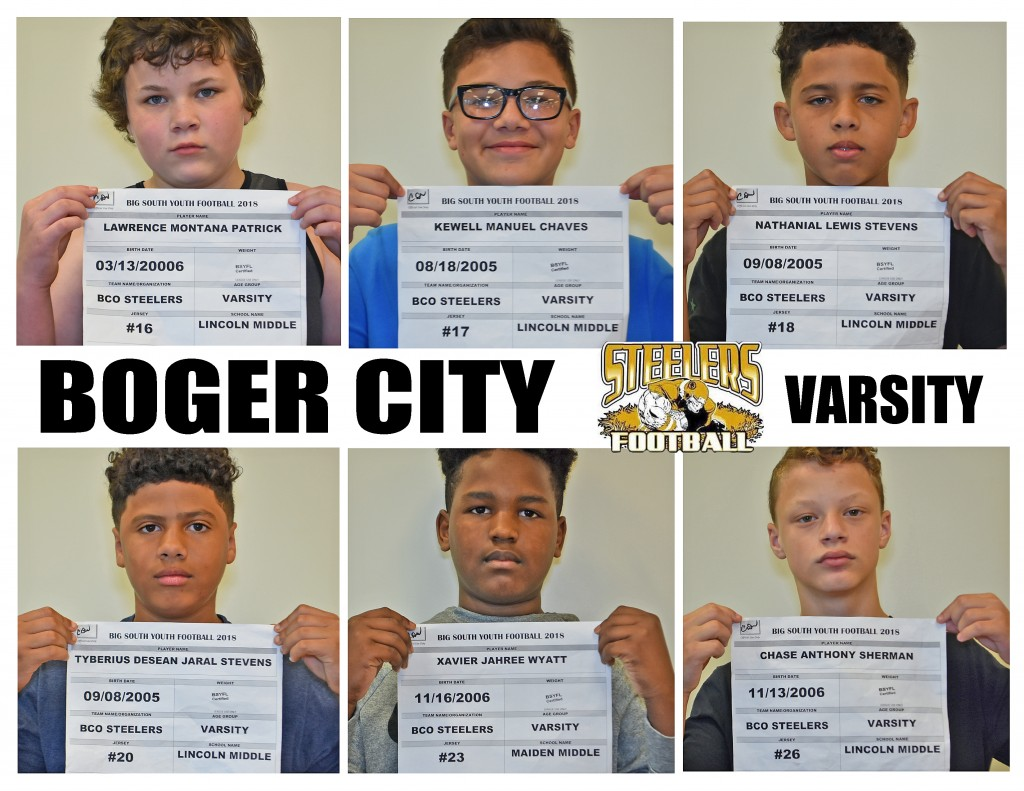 Boger City Steelers Varsity Roster page 2
