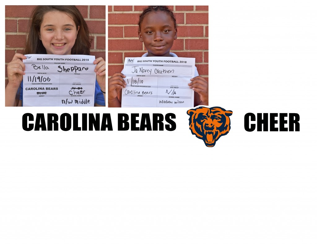 Carolina Bears Cheer Roster page 3 replacement