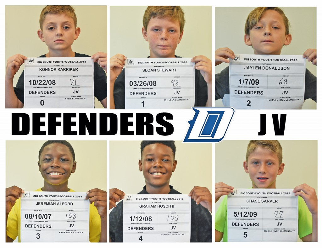 Carolina Defenders JV Roster page 1