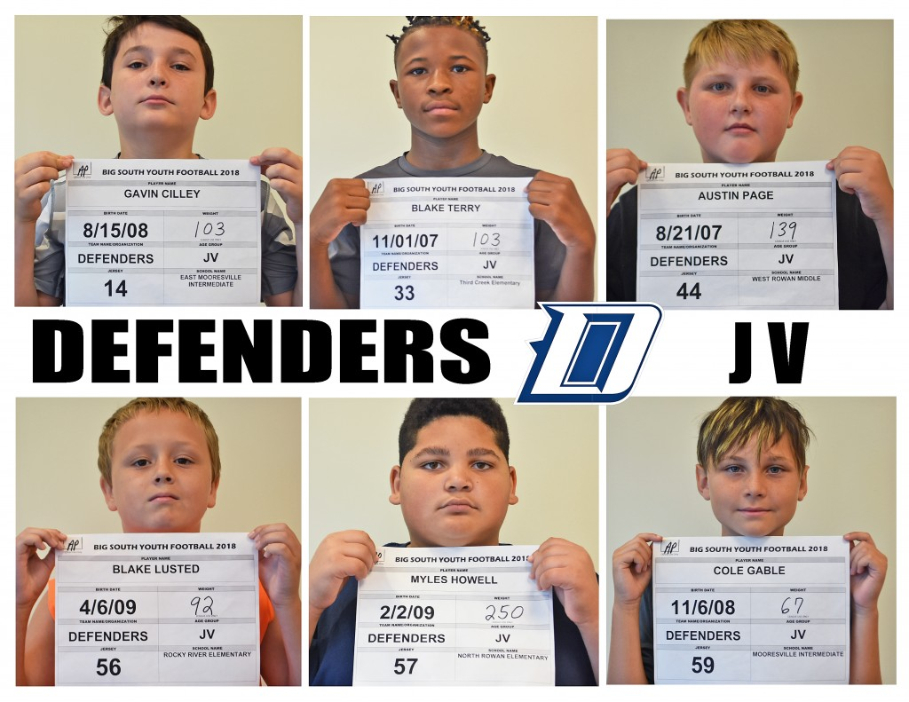 Carolina Defenders JV Roster page 3