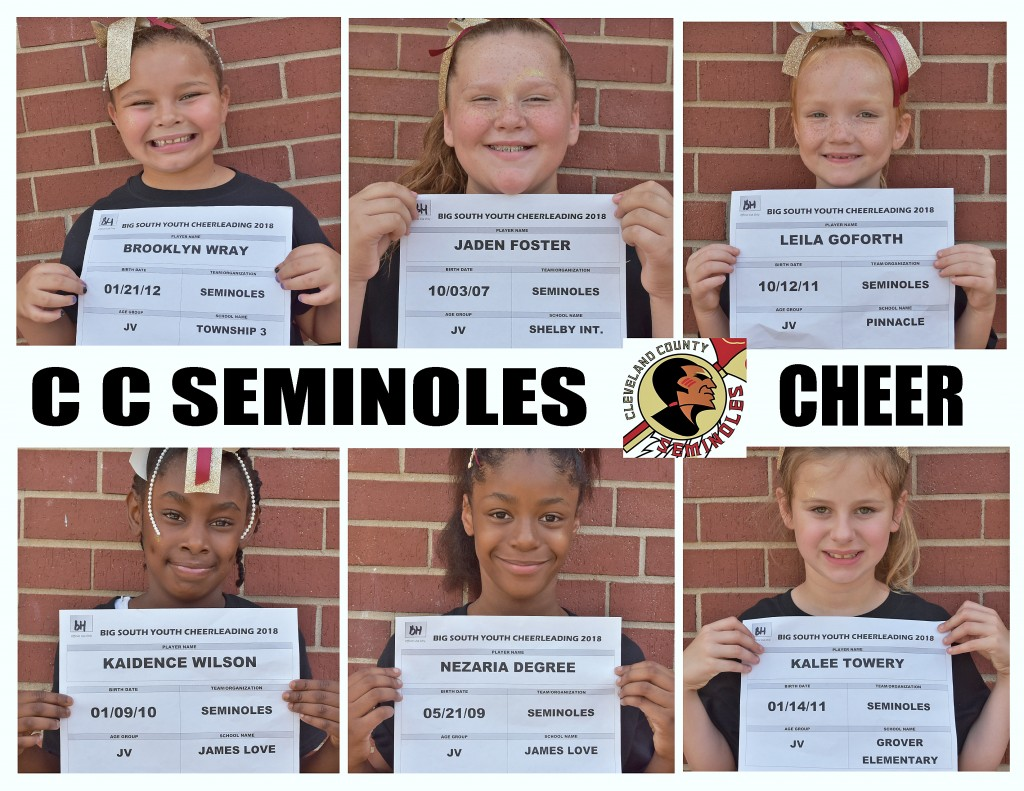 Cleveland County Seminoles Cheer Roster page 1
