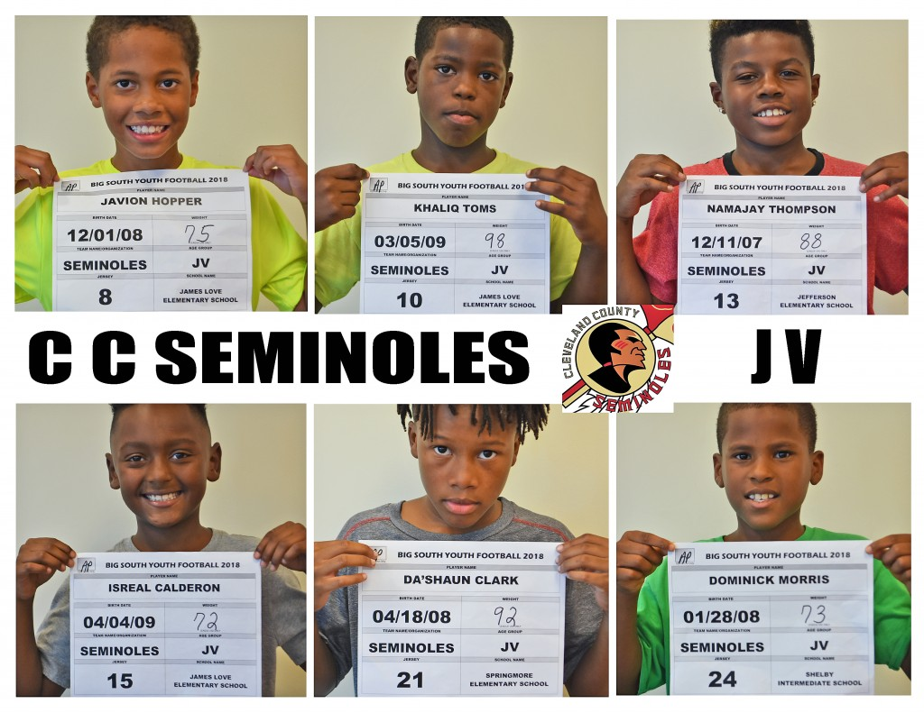 Cleveland County Seminoles JV Roster page 2