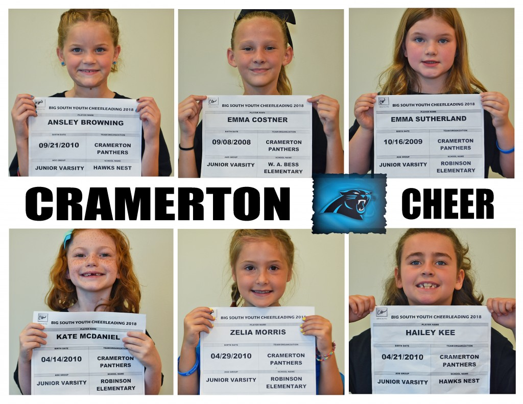 Cramerton Panthers JV Cheer Roster page 1
