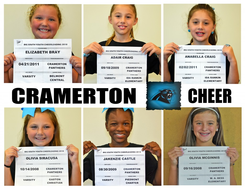Cramerton Panthers Varsity Cheer Roster page 1