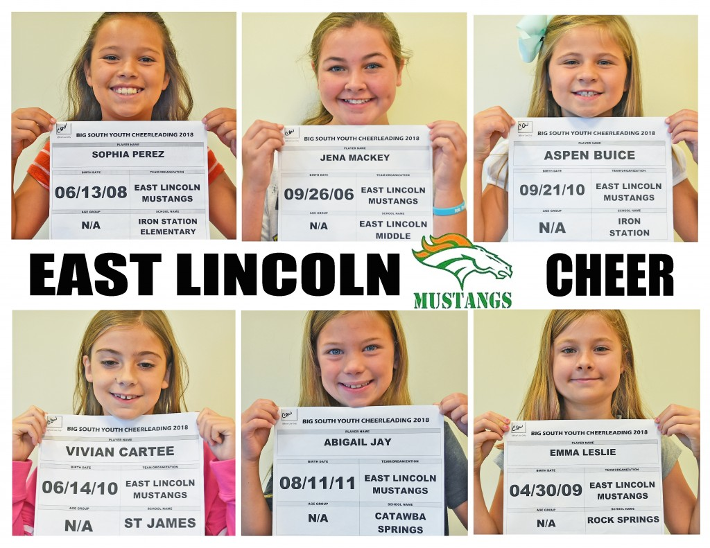 East Lincoln Mustangs Cheer Roster page 1