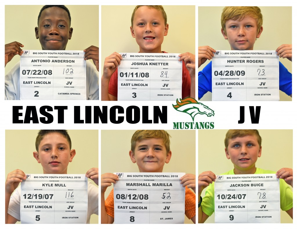 East Lincoln Mustangs JV Roster page 1