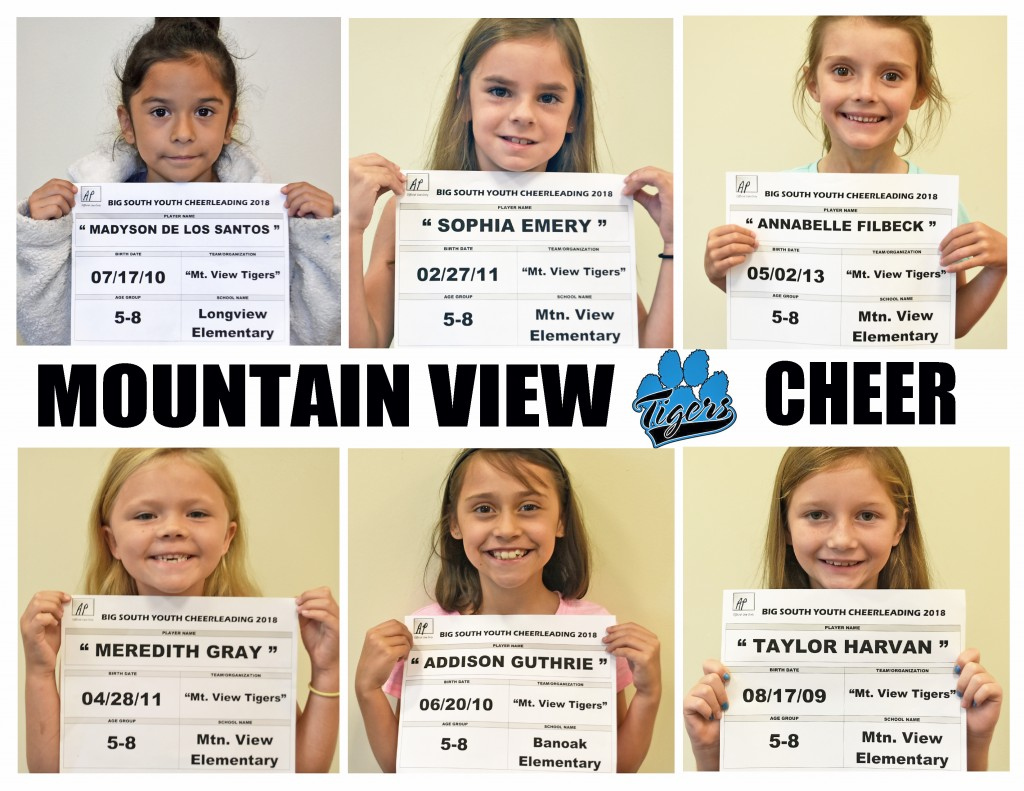 Mountain View Tigers Cheer 5-8 Roster page 1