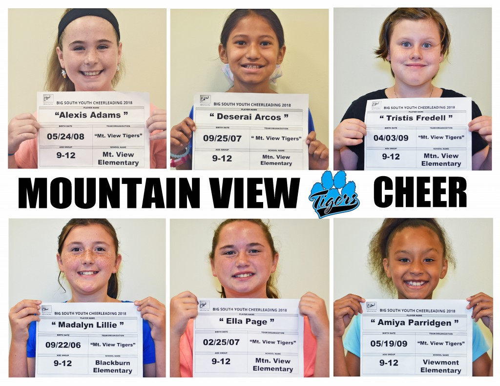 Mountain View Tigers Cheer 9-12 Roster page 1