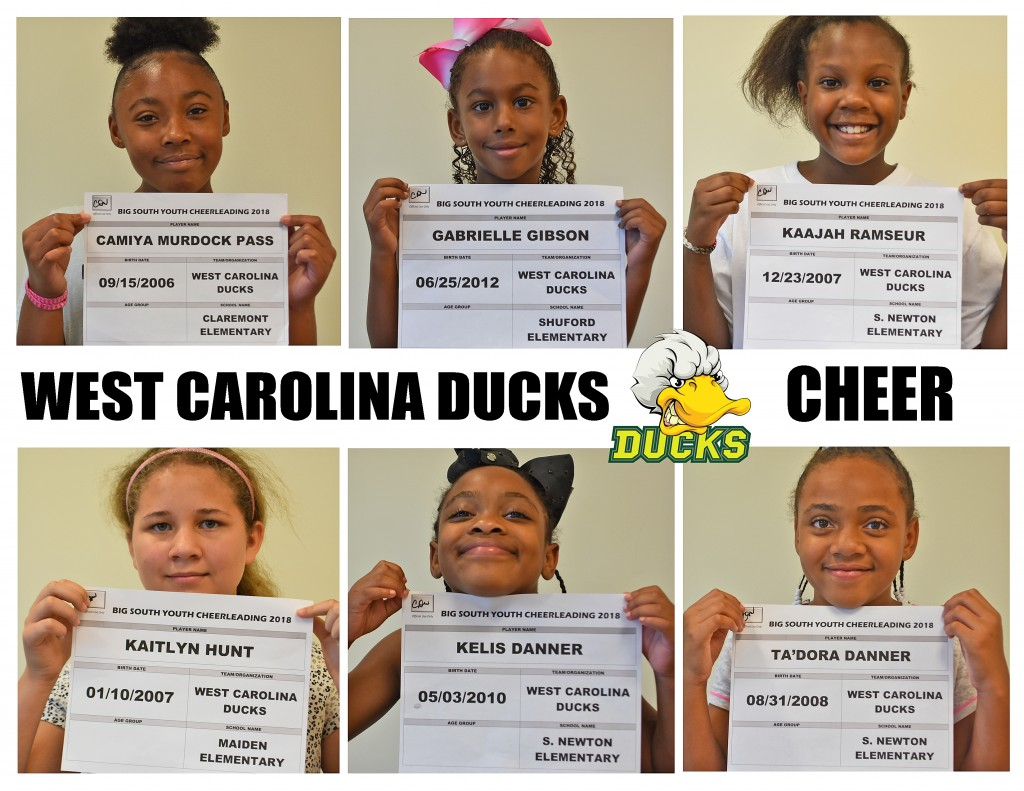 West Carolina Ducks Cheer Roster page 1